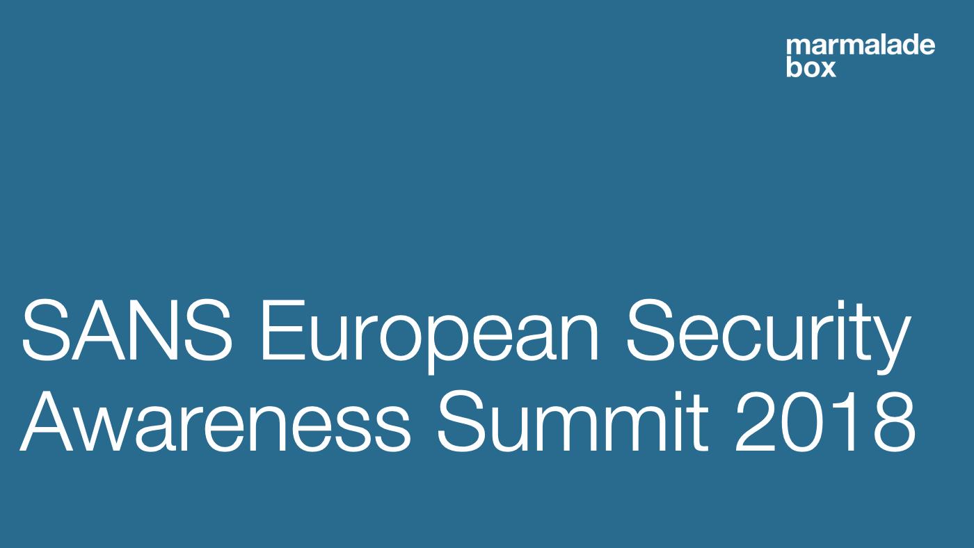 SANS European Security Awareness Summit